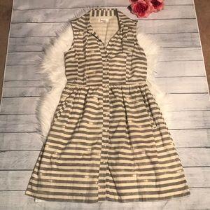 Anthropologie Porridge Striped Button-down Dress